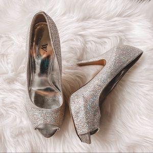 Worthington Silver Sparkle Glitter Heels Size 6.5